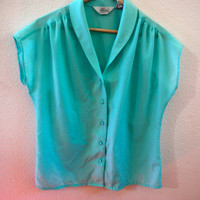 Vintage 80's Mint Alicia Blouse
