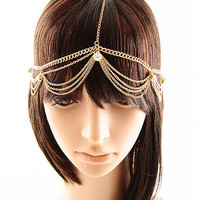 Bohemian Gold Tone Metal Clear Rhinestone Head Chain HIGH FASHION - Other