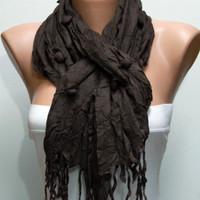 WAS 19, NOW 15 - Dark Brown  - Shawl Scarf - Cowl by Fatwoman