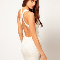ASOS Lace Bodycon Dress with Cross Back Strap at asos.com