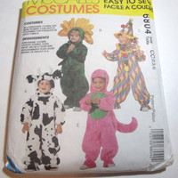 Vintage Pattern Halloween Costume McCalls child sizes 2 3 4 Toddler boy toddler girl clown dinosaur bat cow sunflower witch bear