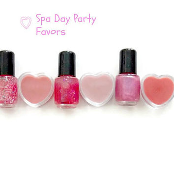 Five 2 piece Pink Spa Party Favors  Mini Polish and Heart Lip Gloss,Lip Gloss Party Favors