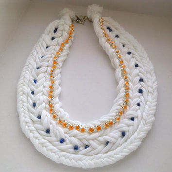 Unique collar hand made necklace, Girls modern jewelry, Cotton jewelry, Gift for StValentine*sDay, White color, Jewelery
