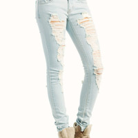 distressed-skinny-jeans LTBLUE - GoJane.com