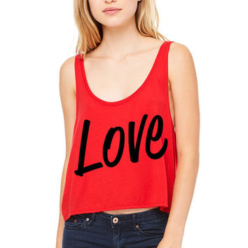 Red Cropped Tank Top - Love - Valentine's Day