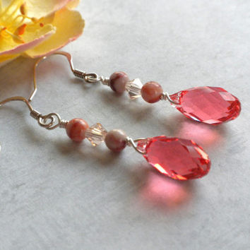 Padparadscha Swarovski Earrings, Pinkish Orange Crystal Earrings, Pink Swarovski Dangle Earrings, Crystal and Gemstone Earrings, Handcrafted