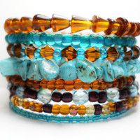 Turquoise Memory Wire Bracelet Turquoise and Brown Stacked Turquoise Beaded Wrap