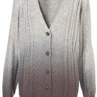 Knitted Dip Dye Cable Cardi - Knitwear  - Clothing