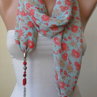 New Fashion - Scarf Necklace - Jewelry Scarf - Green and Red Chiffon Fabric - with Beads and Chain - Trendy - Fashion