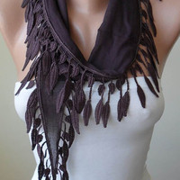 New - Trendy - Brown-Dark Purple Cotton Scarf with Brown Trim Edge