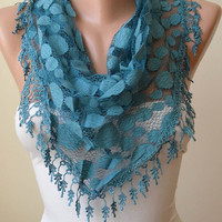 New Trend - Lace Scarf - Turqouise Blue - Polka Dot Fabric  - Scarf with Trim Edge
