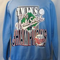 VTG 1991 MINNESOTA TWINS World Series Champs LG Flock 50/50 Crewneck SWEATSHIRT