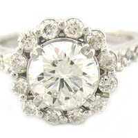 Round cut diamond engagement ring art deco 1.80ctw