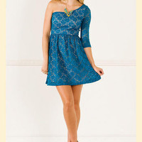 Teal Tomorrow One Shoulder Lace Dress