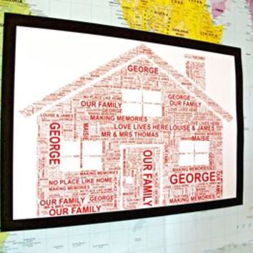 Personalised House Shaped Word Art