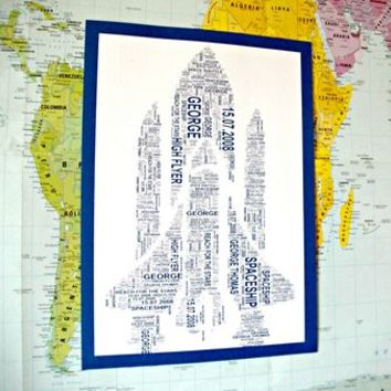 Boys Personalised Space Shuttle Shaped Word Art