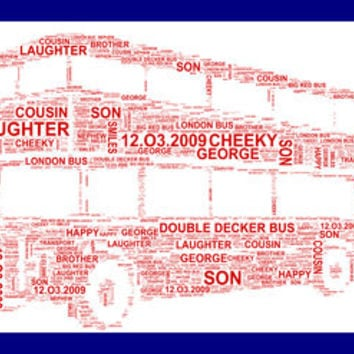 Red Double Decker Bus Personalised Childrens Print
