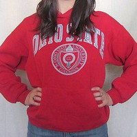 VTG Rad 80s OHIO STATE Buckeyes Soft Red Graphic MED College HOODED SWEATSHIRT