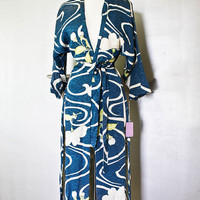 Vintage Kimono Bright Blue Robe - Side Slits Tags - Couture Designer