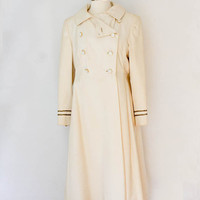 White Trench Coat -  Metal Chain Trim - Military Style  Vintage Designer Jacket