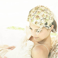 Vintage Sea Shells and Rhinestone Vintage Bridal Hat