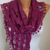 Lace Scarf -  scarf shawl - Sale scarf - Free scarf - Purple - fatwoman