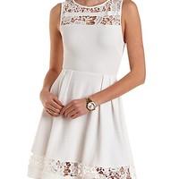 Textured Lace Cut-Out Skater Dress by Charlotte Russe - White