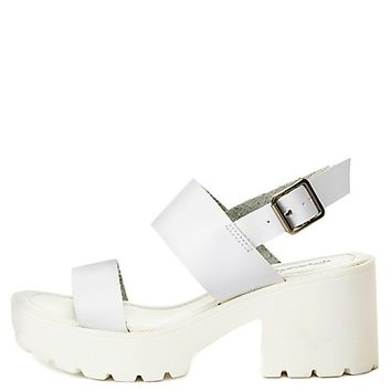 Qupid Lug Sole Chunky Heel Sandals by Charlotte Russe - White