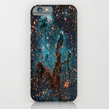Midnight Blue & Copper Stars Space Galaxy Print (Warm) iPhone & iPod Case by 2sweet4words Designs