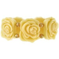 "1.5"" Wide Vintage Style Resin Flower Bracelet,Stretch In Ivory with Gold Finish: Jewelry: Amazon.com"