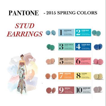 Cute as a button, Stud earrings, dainty earrings, pantone colors spring 2015, round, spring jewelry, bridesmaids earrings, clay earrings
