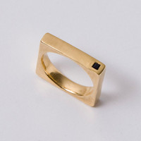 Gold Men&#x27;s Band, Gold and Onyx Square Unisex Ring, unisex ring, wedding ring, wedding band, mens band