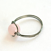 Custom Sized Ring Rose Quartz Gunmetal Wire Wrapped Ring