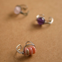 Rhodochrosite Ear Cuffs Silver Wire Wrapped Pink Ear Cuffs