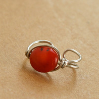 Coral Red Silver Ear Cuff Wire Wrapped Ear Cuff