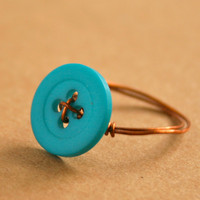 Blue Button Ring Hand Wire Wrapped in Copper