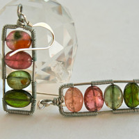 Watermelon Tourmaline Earrings Wire Wrapped Modern Silver Ladder Omber Rectangle Earrings