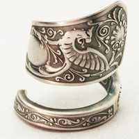 Spoon Ring Vintage Victorian Dragon Sterling Silver Spoon Ring, Handmade in Your Size (2862)