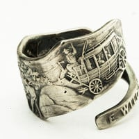 Spoon Ring Wild West Cowboy Figural Art Nouveau in Sterling Silver, Handmade in YOUR Size (2766)