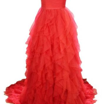 Kamilione Women's A-line Flouncing Long Evening Prom Dresses