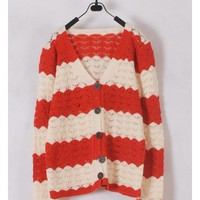 Women Euro Style Autumn Hollow-out Long Sleeve Red Knitting Cardigans One Size @WH0175r $16.51 only in eFexcity.com.