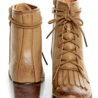 Pisa 25 Taupe Kiltie Lace-Up Ankle Boots - $36.00