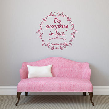 Do Everything in Love with Heart Frame Valentines Day Vinyl Wall Decal 22501