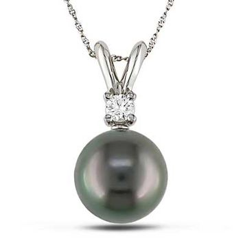 8.0 - 9.0mm Cultured Tahitian Pearl Pendant in 14K White Gold with Diamond Accent