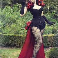 Burlesque LA ESMARELDA Steampunk  Long Satin   Luxe Saloon Bustle By Gothic Burlesque