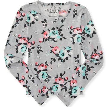 Aeropostale  Long Sleeve Floral Boxy Layering Tee