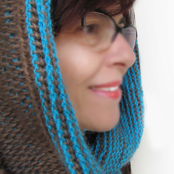 Valentine's Day Gift Scarf / Brown and blue color looped muffler / Knit scarf