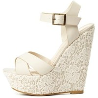 Lace-Covered Platform Wedge Sandals by Charlotte Russe - Stone