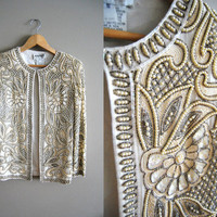 The WHOA.... Vintage  80 DECO Cream White Sequin Party Jacket Coat Top