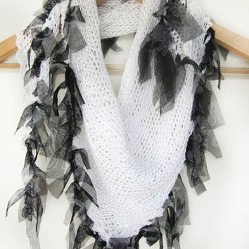 White knitted scarf / Women fashion scarf hand knitted /summer scarf /Stunning scarf/ Originally Designed